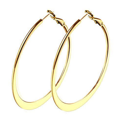 ow Gold Plated Hoop Earrings For Womens Girls Sensitive Ears hypoallergenic ()