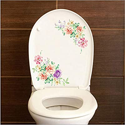 andy coolPeony Flower Toilet Lid Decals Refrigerator Wall Sticker Removable Art Decal Home Decor Useful and Practical