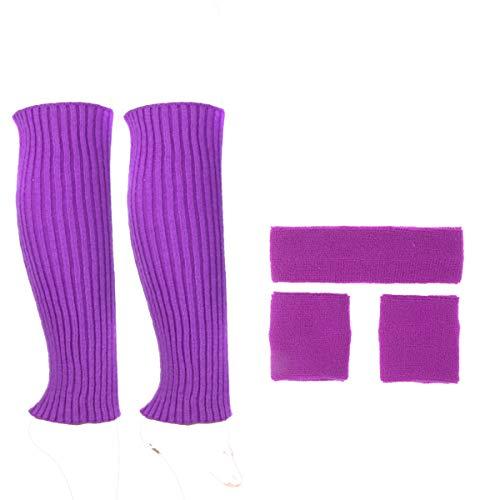 ECOSCO Adult Athletic Sports Workouts Yoga Sweatbands Headband Wristband Leg Warmers Set (Purple) ()