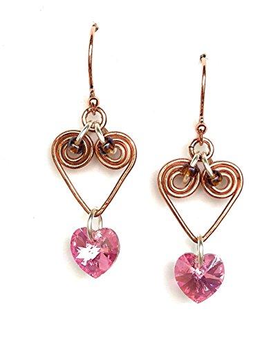 Valentine's Day Pink Crystal Heart Dangle Earrings - Pink, Silver, Copper, Handmade Wire Wrapped Earrings - Heart Drop Earrings - Birthday Gift for Women, Gift for Wife, Girlfriend