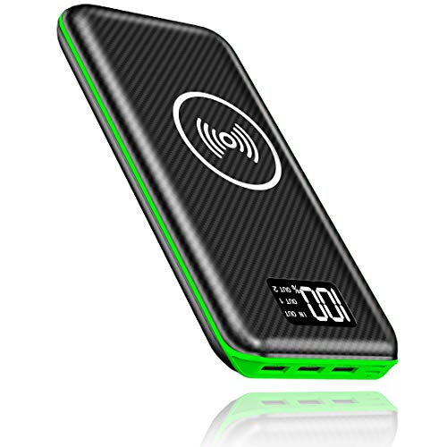 KEDRON Portable Charger Power Bank 24000mAh Wireless Charger Compatible Cellphone,Android Smartphones,Tablet and More with LED Digital Display 3 Outputs & Dual Inputs External Battery Pack(Green)