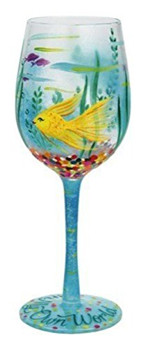 "Designs by Lolita ""In My Own World"" Hand-painted Artisan Wine Glass, 15 oz."