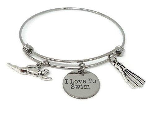 I Love to Swim Charm Bangle Bracelet - Sports Team Coach Gift - Swimmer Jewelry