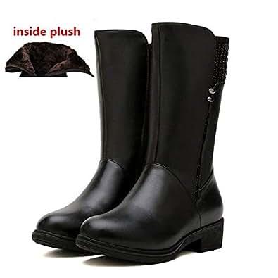 Amazon.com: Fumak: Hot 2018 Winter Rivet Cow Leather Boots