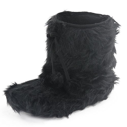 Gohom Women's Winter Warm Mid Length Faux Fur Slipper Boots Black US Size - Fur Slipper Boots