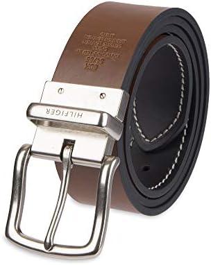 リバーシブルレザーベルト - 両面ストラップとシルバーのバックルが付いているメンズジーンズカジュアル,