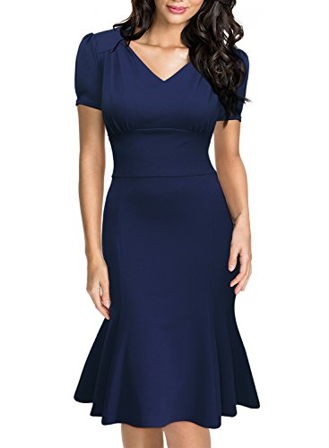 Miusol Women's Official V-Neck Retro Cap Sleeve Fitted Business Cocktail Dress,Navy Blue,Large - Peggy Carter Costume