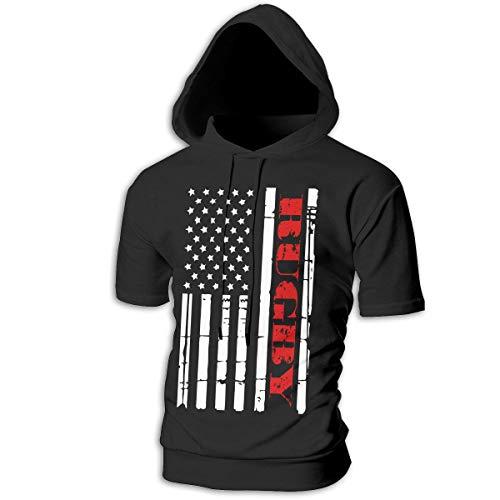 Heavyweight Rugby Hooded - JIW9W67 American Flag Rugby Men's Hoodie Short Sleeve Jackets Cotton Sweatshirt Black