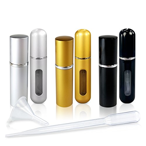 - Refillable Glass Perfume and Cologne Fine Mist Atomizers with Metallic Exterior by L'AUTRE PEAU - Portable Travel Size - 3ml Transfer Pipette and Filling Funnel Included - 6 Piece Variety Pack of 5ml