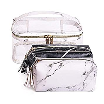 84018df47dadf6 Amazon.com : Joyful 3pcs Marble Travel Cosmetic Bag Set Clear Makeup Bag  Cosmetic Bag Set Marble Makeup Bag (Color C) : Beauty