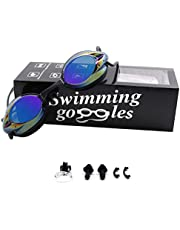WHCREAT Swimming Goggles, Anti Fog UV Protection No Leaking Swim Goggles with Adjustable Nose Bridge for Men Women and Kids 10+
