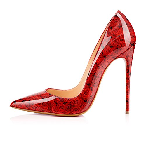 1 on Printing Shoes Pattern Heels High Women's Slip Red Pumps Rose Cow YCG RZU7x