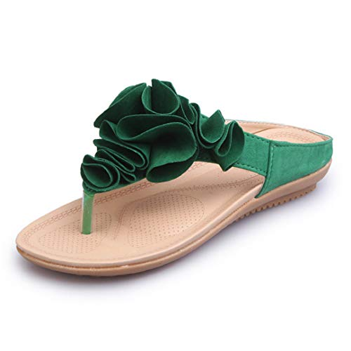Naimo Women's Bohemia Floral Flip Flops Sandals Beach Slippers Shoes Green