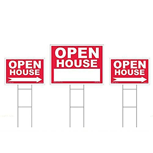 (Open House Sign Kit - 3 Double Sided Signs & 3 Heavy Duty Stakes - Red Property Signs 18