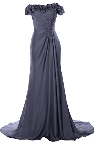 MACloth Women Off Shoulder with Flowers Long Prom Dress 2018 Evening Formal Gown Steel Blue