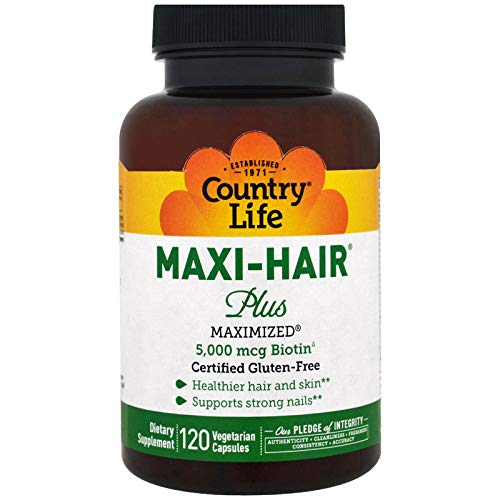 (Country Life, Maxi Hair Plus, 5,000 mcg, 120 Veggie Caps)