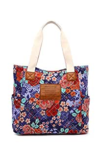 Malirona Canvas Beach Bags and Totes for Women Zippered Beach Shoulder Bag (Cherry Flower)