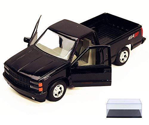 454ss Pickup (Diecast Car & Display Case Package - 1992 Chevy 454SS Pick Up Truck, Black - Motormax 73203 - 1/24 Scale Diecast Model Car w/Display Case)