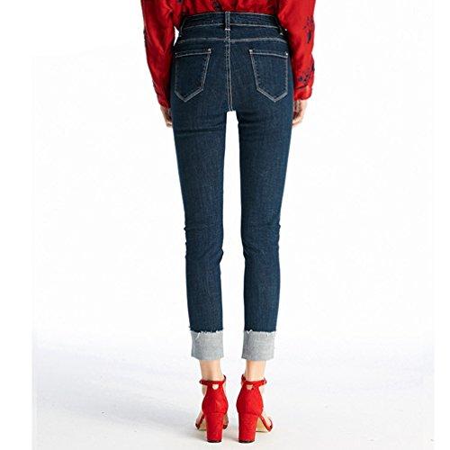 Casual Femme Cowboy Pantalon ZhiYuanAN Droites De Pantalons Jeans Crayon Denim Skinny Chic Boucl Bleu Mode Jegging PnqxRAT