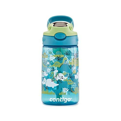 Contigo 2060536 AUTOSPOUT Straw Water Bottle, 14 oz, Green Apple Dinosaur