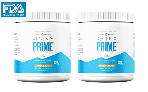 2 Pack Kegenix Prime - Ketone Weight Loss Supplement | Patented Keto Drink with BHB & MCT - Energetic Weight Loss New & Improved Flavor Orange Blast by Kegenix
