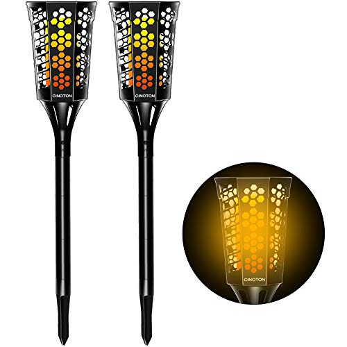 CINOTON Solar Torches Lights, Waterproof Flickering Flames Solar Lights, LED Tiki Torches Outdoor, Solar Security Spotlights Dusk to Dawn Auto On/Off Landscape Lighting for Garden Decoration(2 Pack)