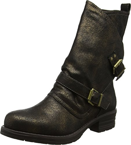 Bronze Browns Boots Black Crackled Nero Donna Joe Sassy A Stivali Biker Arricciati HfqvAfwWFn