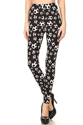 8 Ball Clothing (Expert Design Women's Plus Soccer Sports Printed Leggings - Black White)