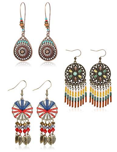LOYALLOOK 3 Pairs Bohemian Earrings Vintage Dangle Teardrop Earrings for Women Fashion Dangling Earrings National Style Long Drop Hollow Vintage Colorful ()