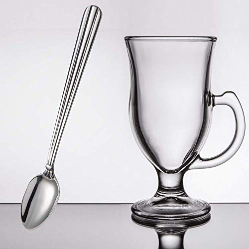 MM Foodservice 8 oz. Irish Coffee Mugs and Long Handle Spoon, Clear Glass Irish Coffee Mug (8) ()