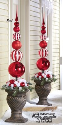 collections etc red white christmas ornament ball finial topiary stake - Topiary Christmas Decorations
