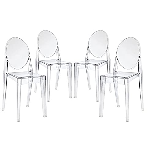 Modway Philippe Starck Style Victoria Ghost Chair Set of 4 (Plastic Chairs Set Of 4)