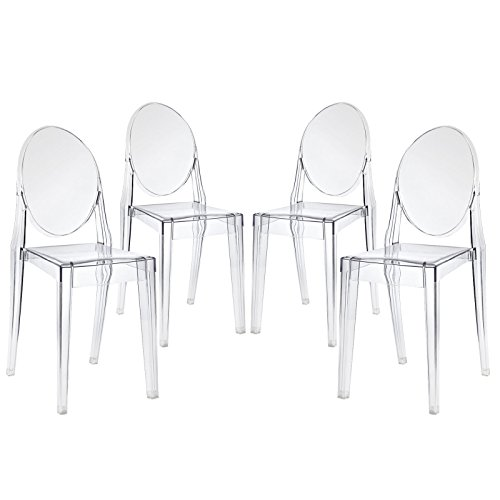 Modway Casper Modern Acrylic Dining Side Chairs in Clear - Set of 4