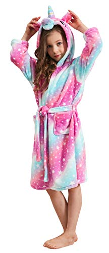 Soft Unicorn Hooded Bathrobe Sleepwear - Unicorn Gifts for Girls (2-4 Years, Pink Galaxy) (Best Gifts For A 3 Year Old Little Girl)