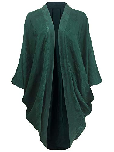 (Beautiful Nomad Kimono Cardigan Cocoon Wrap for Women with Jacquard and Floral Print)