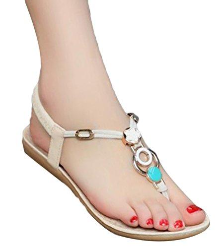 YOUJIA Mujer Plano Thong Sandals Sandalias Bohemia Adorno de Rhinestone Búho Zapatos de Playa #1 Beige