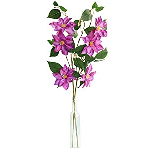 MUFEN Silk Clematis Stem Sprays Outdoor Artificial Flowers for Wreaths Corsages Home Wedding Table Room Decor 39
