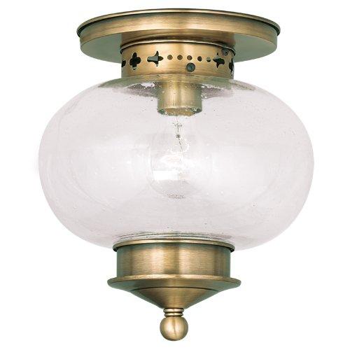 Livex Lighting 5036-01 Harbor 1-Light Ceiling Mount, Antique Brass