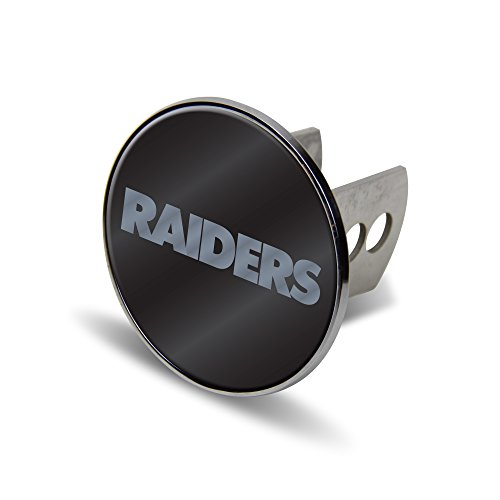 NFL Oakland Raiders Laser Cut Metal Hitch Cover, Large, - Oakland Laser Raiders Silver