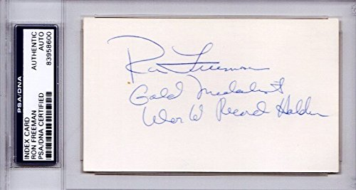 Ron Freeman Autographed Signed RARE Track and Field 3x5 Inch Index Card with Inscriptions - 1968 Gold Medalist - PSA/DNA Authenticity (COA) - PSA Slabbed Holder from Sports Collectibles Online