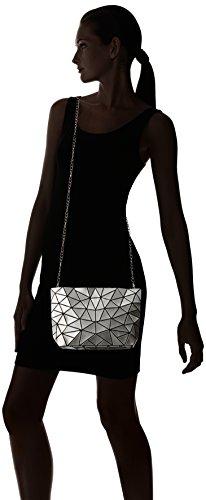 MILY patente PU mujer noche partido embrague bolso Crossbody Bolsa de hombro con correa de cadena - djb1027-04, one size, Negro Gris