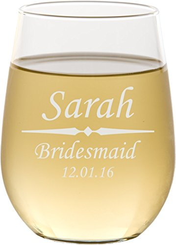 Personalized Stemless Wine Glass with Custom Engraving - (Custom Glasses)