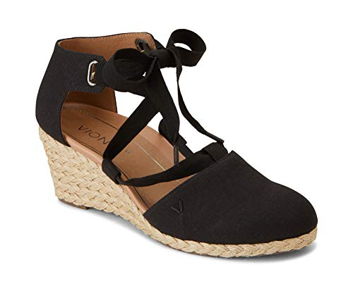 Vionic Women's Aruba Kaitlyn Lace-up Wedge - Ladies Espadrille Wedges with Concealed Orthotic Arch Support Black 10 W US