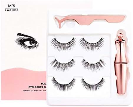Unbne Magnetic Eyelashes,Natural Magnetic Liquid Eyeliner& Magnetic False Eyelashes & Tweezer Set,Natural Look - Thick Eyelash with Applicator,M1