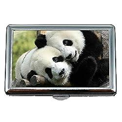 45 Cigarette Case,Tea Animal Panda Business Card Holder Business Card Case (Stainless Steel)