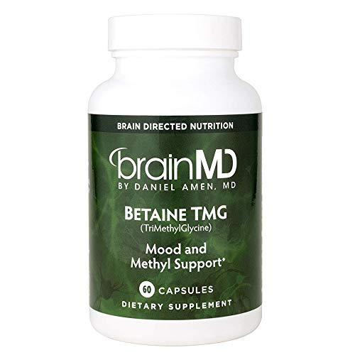 Dr. Amen brainMD Betaine TMG - 1000 mg Trimethylglycine, 60 Capsules - Healthy Mood Support Supplement, Promotes Metabolism & Liver Health, Antioxidant - Gluten-Free - 30 Servings