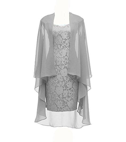 Dannifore Column 3/4 Sleeves Lace Chiffon Short Wedding Mother Evening Dresses Formal Grey Size 4