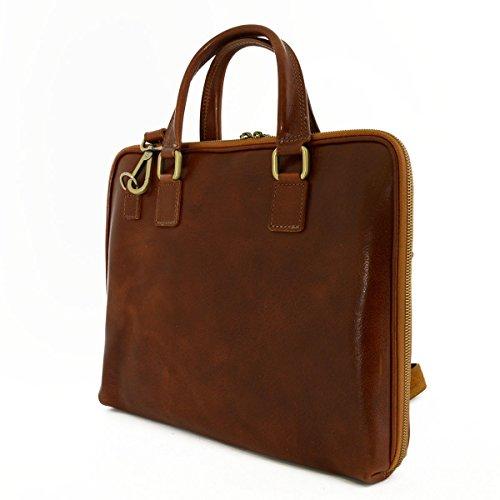 In Business Documenti Cognac Zip Toscana Made In Italy Pelle Vera Porta Soffietto Con Pelletteria Chiusura A Colore R6w1daq