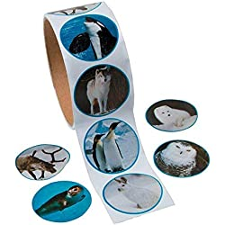 Fun Express Paper Realistic Photo Polar Animal Sticker Rolls | 3-Pack | 300 Total Count Stickers | Great for Yuletide Celebrations, Holiday Crafting, and Polar-Themed Projects