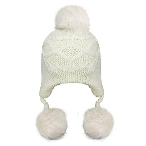 Unisex Children Toddler Baby Winter Wool Crochet Knit Earflap Hat Thick Sherpa Fleece Lined Warm Beanie Skull Cap Trapper Ski Hat with Fur Ball Pom Pom Earflap Hood Hat Xmas Gift for Kids Boys Girls
